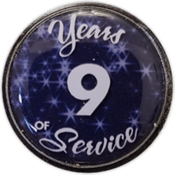 9 Years Silver and Blue Years of Service Pin
