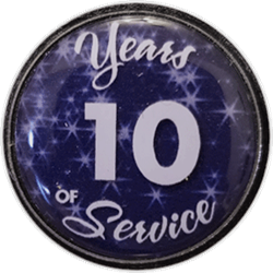 10 Years Silver and Blue Years of Service Pin