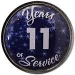 11 Years Silver and Blue Years of Service Pin
