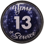 13 Years Silver and Blue Years of Service Pin
