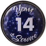 14 Years Silver and Blue Years of Service Pin