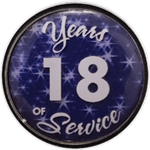18 Years Silver and Blue Years of Service Pin
