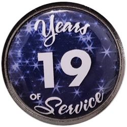 19 Years Silver and Blue Years of Service Pin