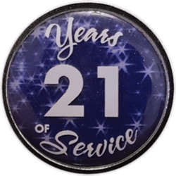 21 Years Silver and Blue Years of Service Pin