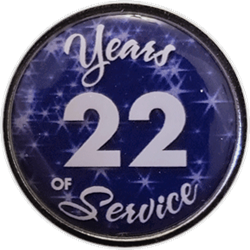 22 Years Silver and Blue Years of Service Pin