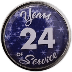 24 Years Silver and Blue Years of Service Pin