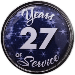 27 Years Silver and Blue Years of Service Pin