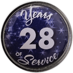 28 Years Silver and Blue Years of Service Pin