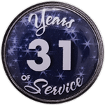 31 Years Silver and Blue Years of Service Pin