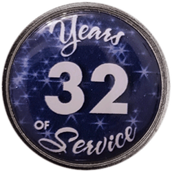 32 Years Silver and Blue Years of Service Pin