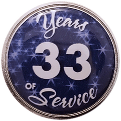 33 Years Silver and Blue Years of Service Pin