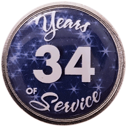 34 Years Silver and Blue Years of Service Pin