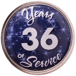 36 Years Silver and Blue Years of Service Pin