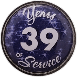 39 Years Silver and Blue Years of Service Pin