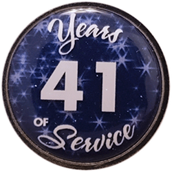 41 Years Silver and Blue Years of Service Pin