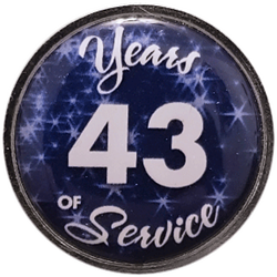 43 Years Silver and Blue Years of Service Pin