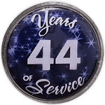 44 Years Silver and Blue Years of Service Pin