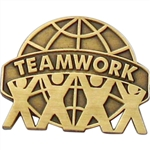 ANTIQUE TEAMWORK WORLD PIN