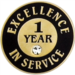 1 YEAR OF SERVICE PIN W/ STONE