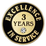 3 YEARS OF SERVICE PIN W/ STONE
