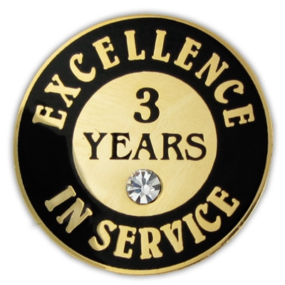 3 Years Of Service Pin W Stone