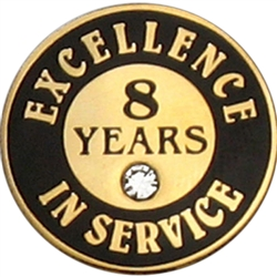 8 YEARS OF SERVICE PIN W/ STONE