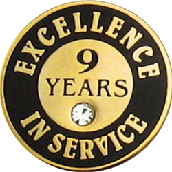 9 YEARS OF SERVICE PIN W/ STONE