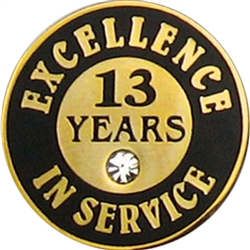 13 YEARS OF SERVICE PIN W/ STONE