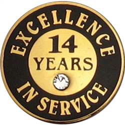 14 YEARS OF SERVICE PIN W/ STONE