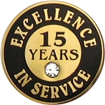 15 YEARS OF SERVICE PIN W/ STONE