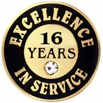16 YEARS OF SERVICE PIN W/ STONE