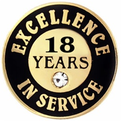 18 YEARS OF SERVICE PIN W/ STONE