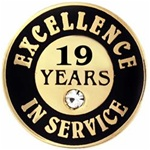 19 YEARS OF SERVICE PIN W/ STONE