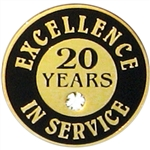 20 YEARS OF SERVICE PIN W/ STONE