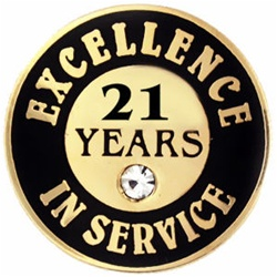 21 YEARS OF SERVICE PIN W/ STONE