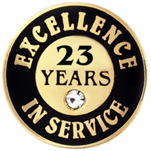 23 Years Of Service Pin W Stone