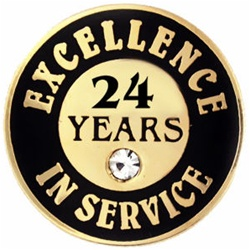 24 YEARS OF SERVICE PIN W/ STONE