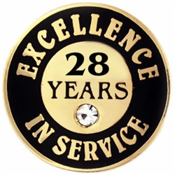 28 YEARS OF SERVICE PIN W/ STONE