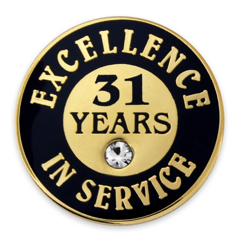 31 Years Of Service Pin W Stone