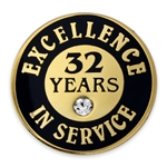 32 YEARS OF SERVICE PIN W/ STONE