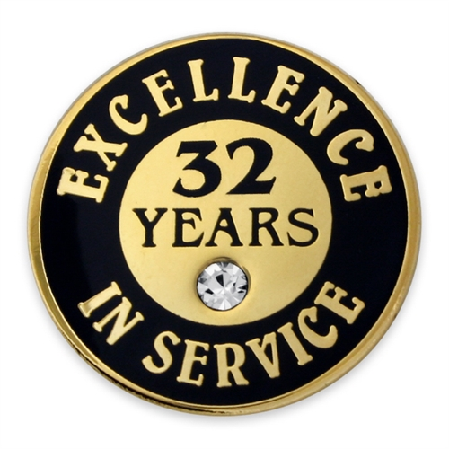 32 Years Of Service Pin W Stone