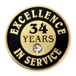 34 YEARS OF SERVICE PIN W/ STONE