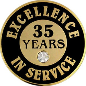 35 Years Of Service Pin W Stone