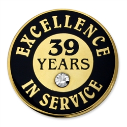 39 YEARS OF SERVICE PIN W/ STONE