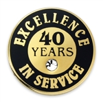 40 YEARS OF SERVICE PIN W/ STONE