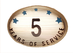 5 YEARS SELF ADHESIVE YEARS OF SERVICE