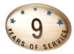 9 YEARS SELF ADHESIVE YEARS OF SERVICE