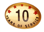 10 YEARS SELF ADHESIVE YEARS OF SERVICE