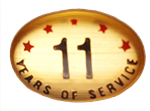 11 YEARS SELF ADHESIVE YEARS OF SERVICE