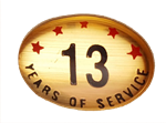 13 YEARS SELF ADHESIVE YEARS OF SERVICE
